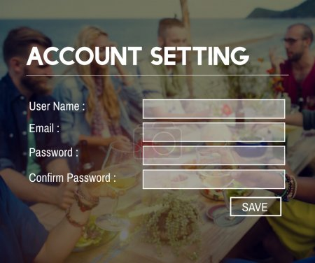 young people and Accounting Setting Application Concept