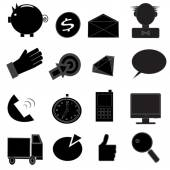 Business and money Black & White Icon Set