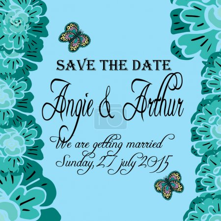 Wedding invitation card with hand drawn flowers  and butterfly
