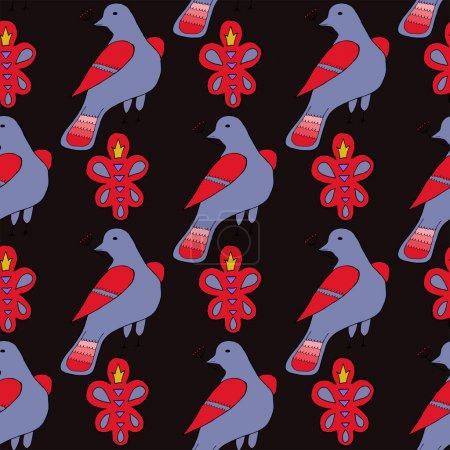 Seamless pattern with hand drawn ornament and birds
