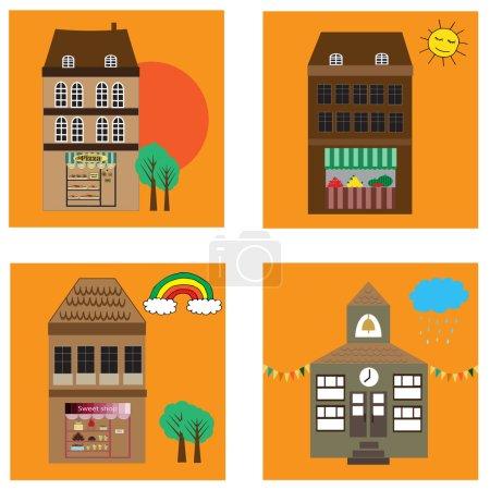 Illustration pour Quatre bâtiments vectoriels de dessins animés avec centres commerciaux et école - image libre de droit