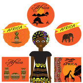 African set with woman, dishes, animals and tree.