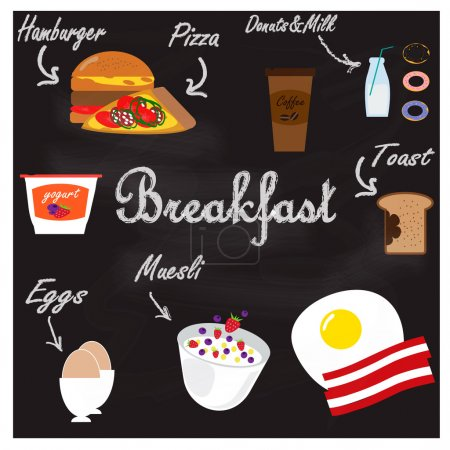 Illustration with food for breakfast