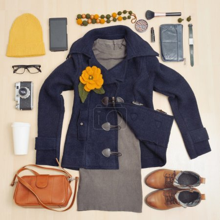 Fashion stylish set of clothing and accessories for the fall