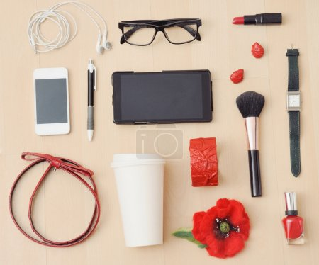 stylish casual set of accessories and stuff for urban woman