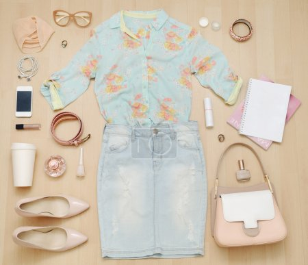 stylish casual set of clothes and accessories and stuff for urba