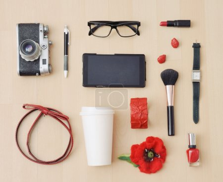 stylish set of accessories and stuff for urban woman