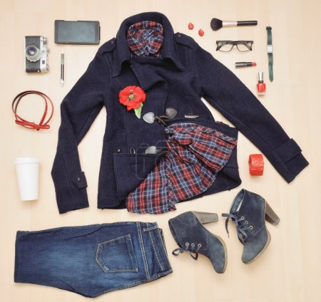 stylish set of clothing and accessories for the fall