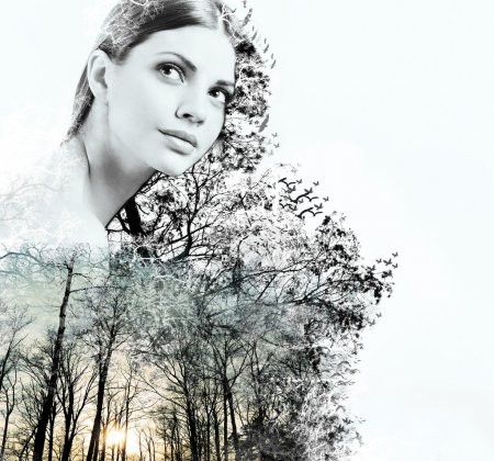 Double exposure of attractive woman and beauty of nature at the