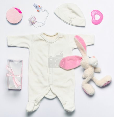 Photo for Top view set of fashion trendy stuff and toys for newborn baby girl, baby fashion concept - Royalty Free Image