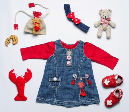 top view fashion trendy look of clothes and stuff for baby girl