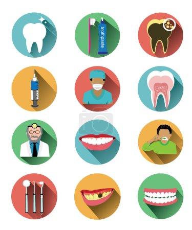 Illustration pour Il s'agit d'icônes dentaires design plat moderne réglées avec un effet d'ombre longue.C'est pour l'illustration et la publicité . - image libre de droit