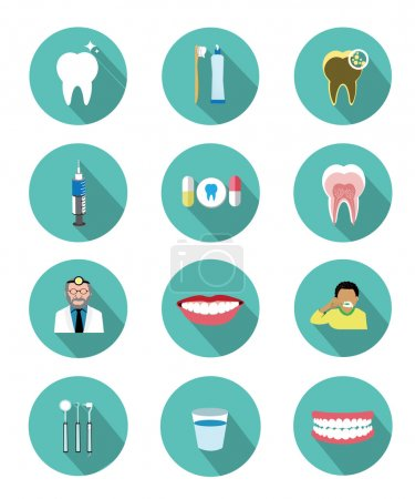 This is Modern flat dental icons set with long sha...