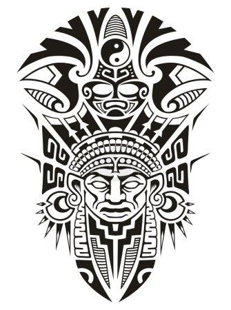 Illustration pour Masque tribal avec boucles d'oreilles et symbole yin yang - image libre de droit