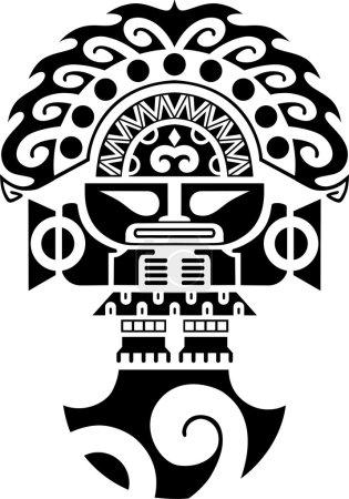 Tribal Ceremonial Knife Inca Culture Illustration