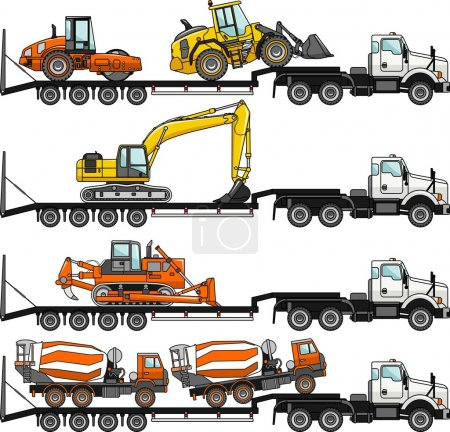 Illustration for Detailed illustration of car auto transporter and concrete mixer, bulldozer, excavator, wheel loader, compactor on white background in flat style in different positions - Royalty Free Image