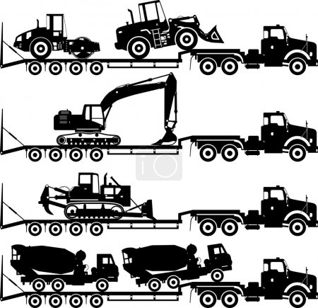 Illustration for Silhouette illustration of car auto transporter and heavy construction machines on white background in different positions - Royalty Free Image