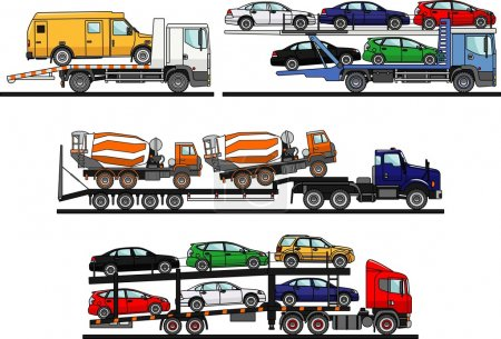 Illustration for Detailed illustration of car auto transporters on white background in flat style - Royalty Free Image