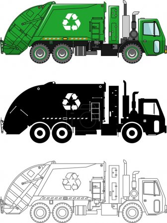 Different kind garbage trucks isolated on white background in flat style: colored, black silhouette and contour. Vector illustration.