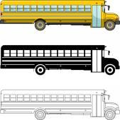 Jiný druh školní autobus izolovaných na bílém pozadí v ploché styl: barevné, černá silueta a obrys. Vektorové ilustrace