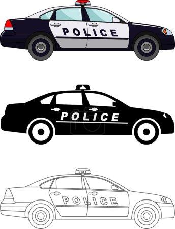 Illustration pour Illustration détaillée de voitures de police isolées sur fond blanc dans un style plat . - image libre de droit