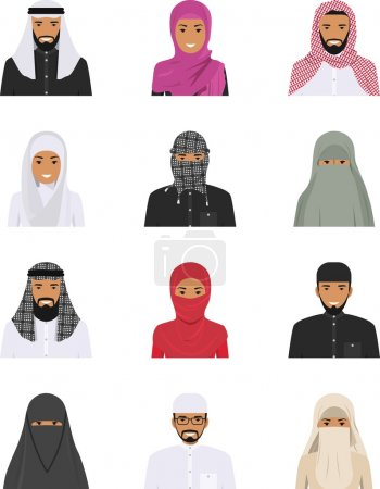 Different muslim arab people characters avatars icons set in flat style isolated on white background. Differences islamic saudi arabic ethnic persons smiling faces in traditional clothing. Vector