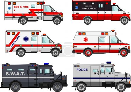 Illustration for Silhouette illustration of fire truck, police and ambulance cars isolated on white background. - Royalty Free Image