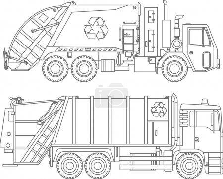 Coloring pages. Set of different kind garbage trucks flat linear icons isolated on white background. Vector illustration.