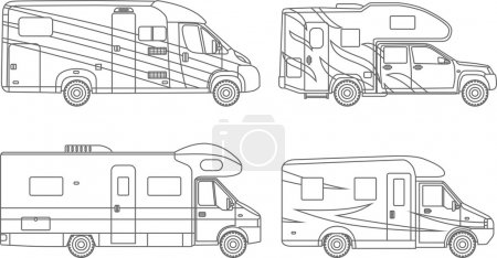 Coloring pages. Set of different silhouettes car, travel trailers flat linear icons isolated on white background. Modern caravan. Vector illustration.