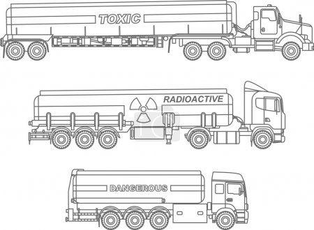 Coloring pages. Set of different kind cistern trucks carrying chemical, radioactive, toxic, hazardous substances flat linear icons isolated on white background. Vector illustration.
