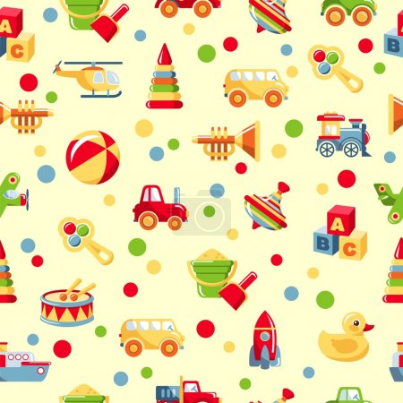 Illustration pour Modèle coloré avec différents types de jouets - image libre de droit