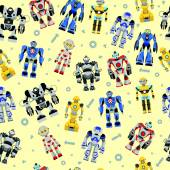 Colorful pattern with various kinds of detailed robots