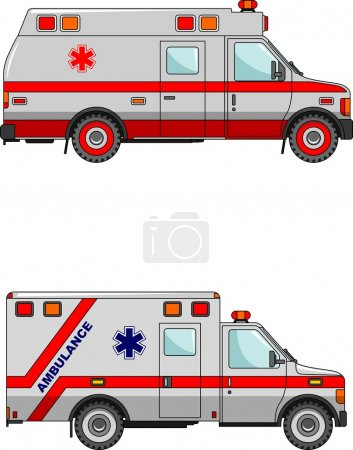 Illustration for Two variants of the ambulance in a flat style - Royalty Free Image
