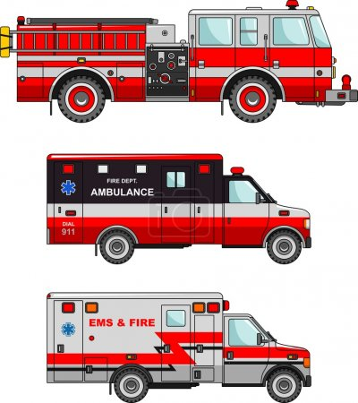Illustration for Detailed illustration of fire truck and ambulance cars in a flat style - Royalty Free Image