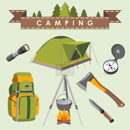Illustration for Set of camping equipment and objects in flat style - Royalty Free Image
