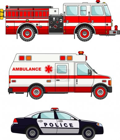 Illustration for Detailed illustration of fire truck, police and ambulance cars in a flat style - Royalty Free Image