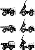 Off-highway trucks Heavy mining trucks Vector illustration