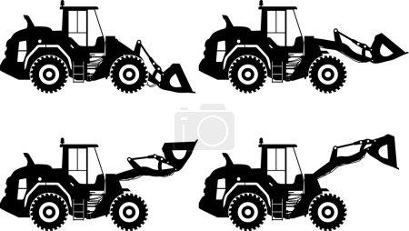 Illustration pour Illustration détaillée des chargeuses sur pneus, des équipements lourds et des machines - image libre de droit