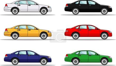 Illustration pour Illustration détaillée de six voitures colorées dans un style plat - image libre de droit