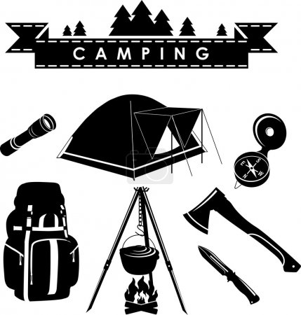 Illustration for Silhouette illustration camping equipment and objects isolated on white background. Vector illustration - Royalty Free Image