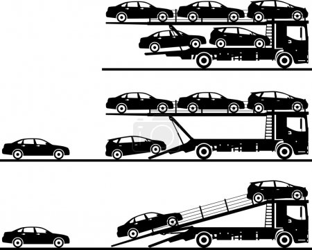 Illustration for Silhouette illustration of car auto transporters on white background in flat style in different positions. Vector illustration - Royalty Free Image