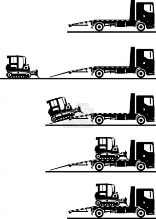 Set of silhouettes auto transporter and dozer isolated on white background in different positions. Vector illustration.