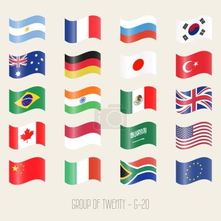 Group of twenty - G20 - flag icon set