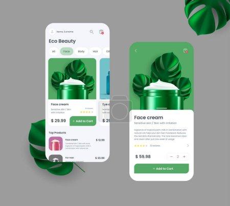Illustration pour Application mobile générique et fictive pour les achats en ligne avec des éléments d'interface, illustration 3D lumineuse du pot de crème avec des feuilles de palme, icône du panier - image libre de droit