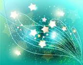 turquoise abstract background with sparkling stars