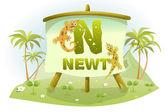 Funny Cartoon Alphabet N With Newt