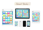 Bordo di legno di dispositivi smart device con smart phone e tablet