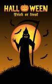 grim reaper with halloween background