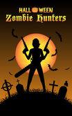 halloween zombie hunter with handgun at graveyard