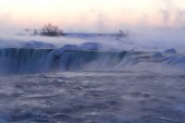 Horseshoe Falls in Winter Ice and Mist at Dawn